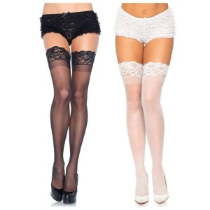 Nora Thigh High Lace Stockings One Size (O/S) - Leg Avenue