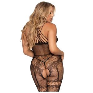 Hot Nights Lace Strappy Halter Bodystocking by Leg Avenue