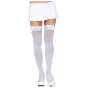 Kay Plus Size Opaque Thigh Highs with Satin Bow