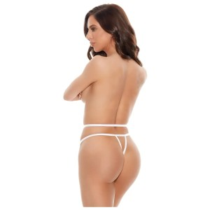 Diamond Thong Panty in Black and White by Barely Bare