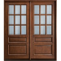 Glass Wooden Double Door Hpd478