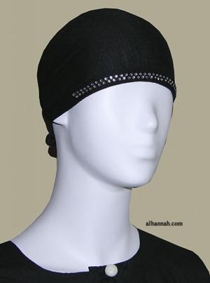 Rhinestone Accented bonnet style underscarf  ac173