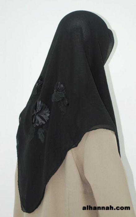 Daisy Floral Applique Chiffon Hijab hi1790