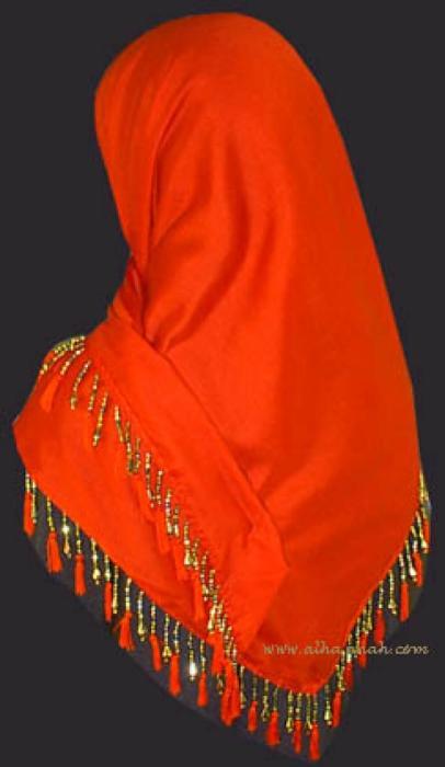 Tasseled and Beaded Triangle Hijab hi817