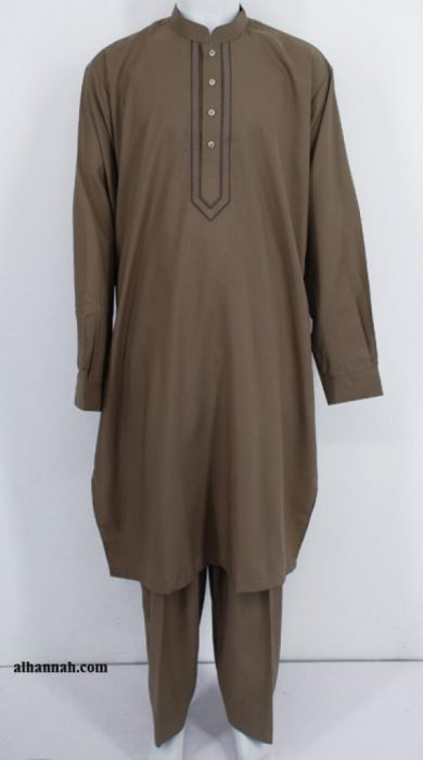 Men's Solid Color Salwar Kameez - with Embroidery  me459