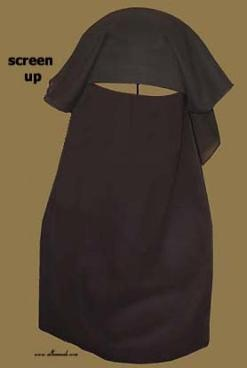 Traditional Saudi style triple layered burqa - with string ni132