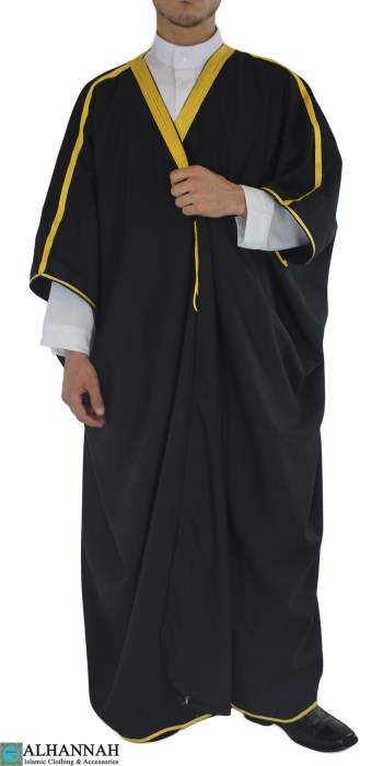 Black Embroidered Bisht me415