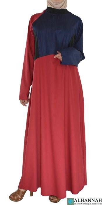 Rukan Red and Navy Abaya ab674