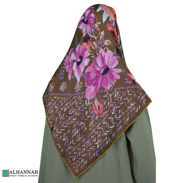 Turkish Floral Satin Hijab hi2086