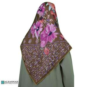 Turkish Floral Satin Hijab hi2086