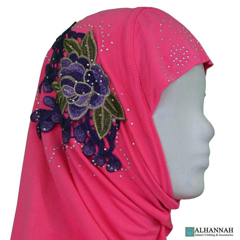 Amira Hijab Flower Applique close up
