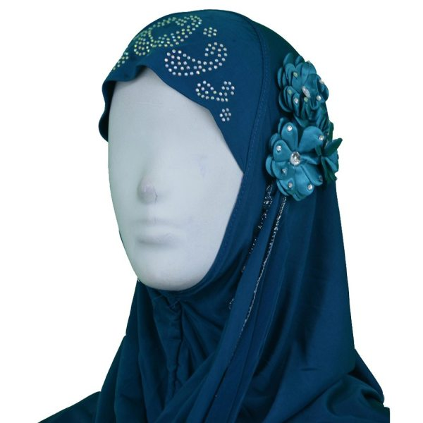Amira Hijab with Flower and beads close up
