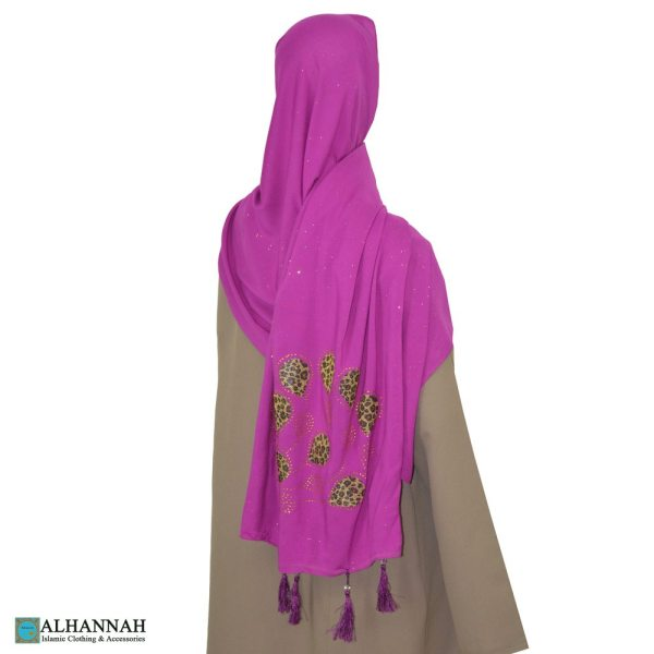 Tasseled Muslim Wrap with Glitter