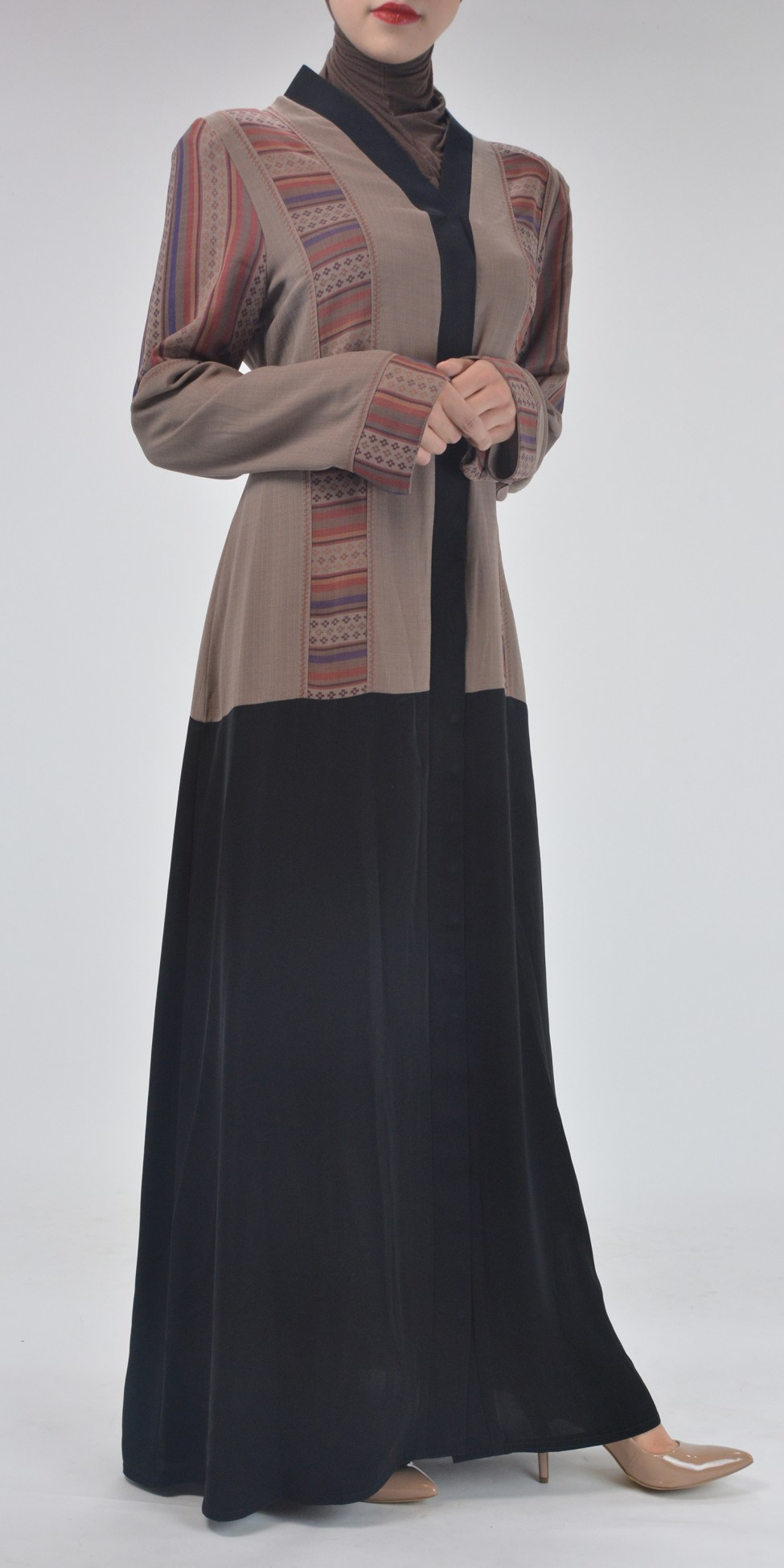 Aztec Flare Abaya - Full Length Zipper ab692 (3)