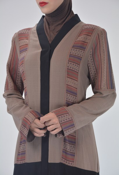 Aztec Flare Abaya - Full Length Zipper ab692 3