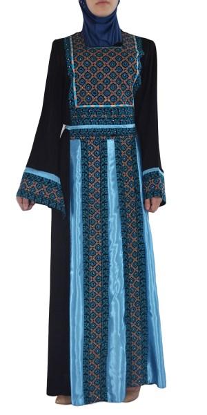Ghaniyah Thobe bordado azul-diamante TH782