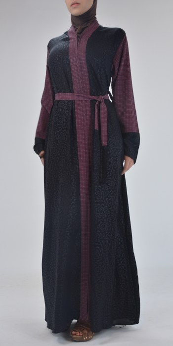 Denim Begonia Abaya - Full Length Zipper ab690 (2)