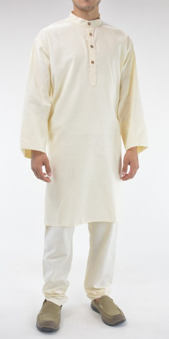 Striped Long Cotton Kurta Shirt with Wooden Buttons Cream 4
