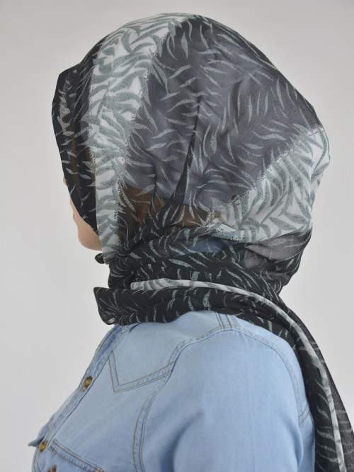 Abstract Tiger Shayla Wrap Hijab Hi2114 Black & White