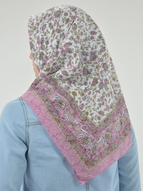Blooming Vines Print Square Hijab HI2128 (2)