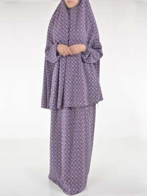 Floral Damask Two Piece Prayer Outfit PS440 (2)