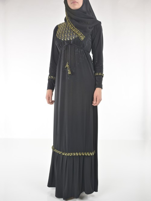 Golden Looped Paisley Rhinestone Stars Abaya AB701 (1)