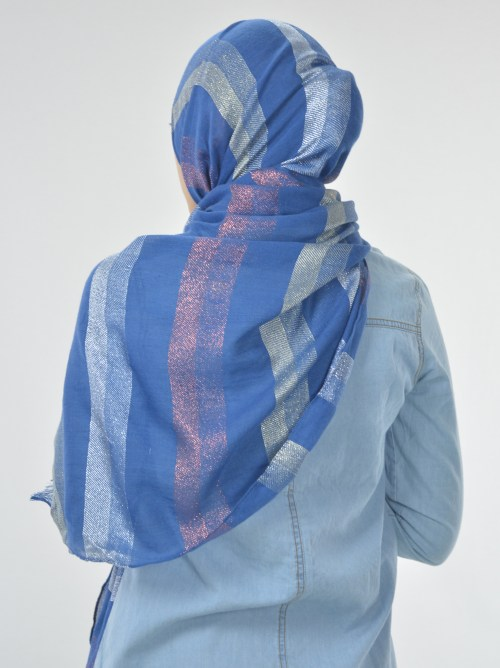 Striped Multicolored Shayla Hijab Blue (2)