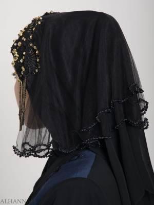 Black Pearled Bridal Hijab hi2153 (2)