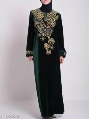 Swirled Day Lillie's Embroidered Velvet Syrian Thobe TH790 (2)