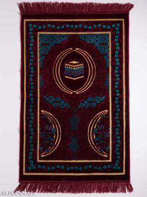 Turkish Prayer Rug Aquamaroon Floral Kaaba Motif ii1129