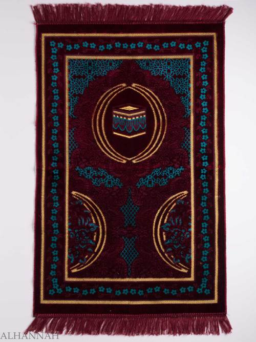 Turkish Prayer Rug Aquamaroon Floral Kaaba Motif ii1129