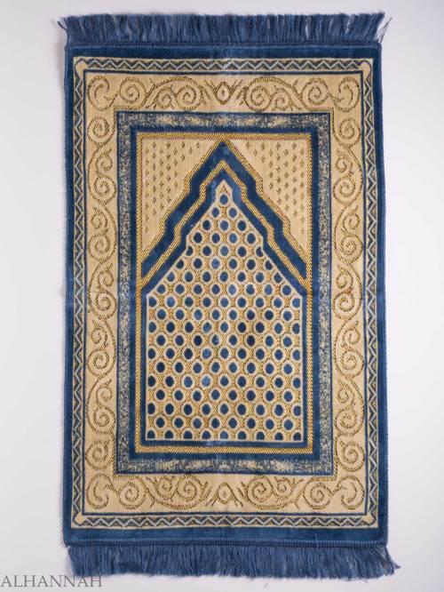 Turkish Prayer Rug Blue Arrowed Polka Dot Motif ii1138