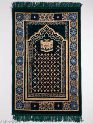 Turkish Prayer Rug Green Swirled Floral Kaaba Motif ii1131