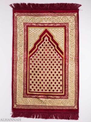 Turkish Prayer Rug Red Arrowed Polka Dot Motif ii1136