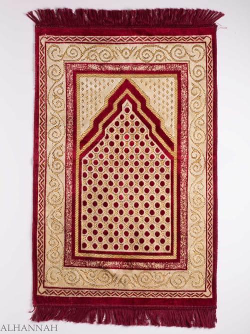 Turkish Prayer Rug Red Arrowed Polka Dot Motif ii1136