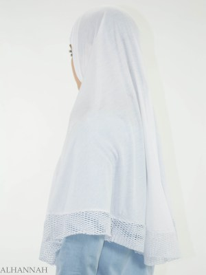 Blanco Crochet de una sola pieza Al-Amira Hijab HI2136 (1)