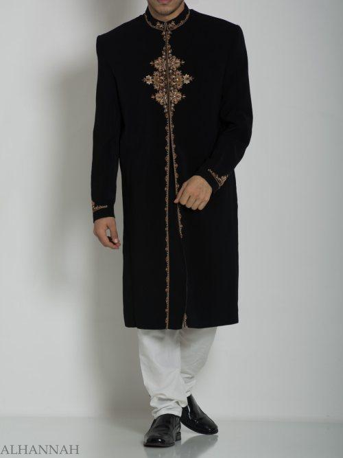 Black Embroidered Plain Jacquard Designer Sherwani ME754 (2)