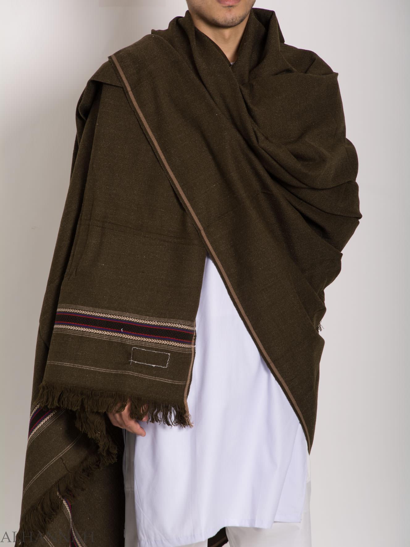 Tasseled Wool Pakistani Shawl With Ethnic Arrowed Pattern