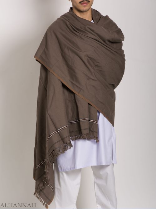 Tasseled Wool Shawl with Ethnic Triangle Pattern ME748 (2)