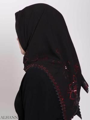Lentejuelas florales alineadas Hijab cuadrado hi2161 (6)