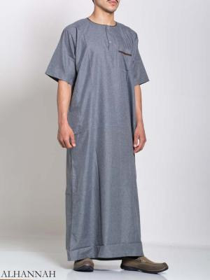 Mens Thobe Color Lined Button-Up