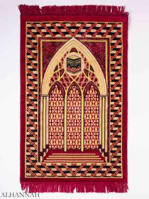 Red Mosque Interior Kaaba Motif Prayer Rug ii1153