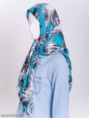 Aqua Wave Striped Square Hijab hi2171