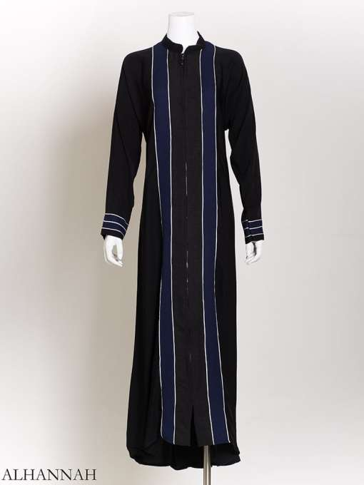 White Striped Navy Banner Abaya ab724
