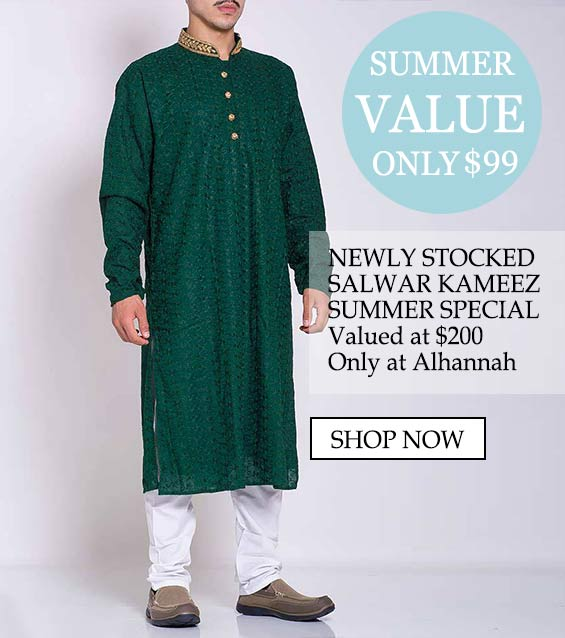 Mens muslim islamic clothing salwar kameez summer special - Summer value only $99, newly stocked salwar kameez summer special valued at $200 only at alhannah Shop now