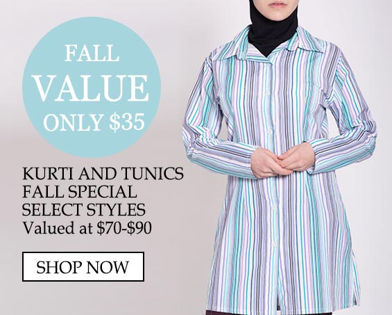 Womens Muslim Islamic Clothing Kurti - Value only $35 Kurti and Tunics Fall Special Select Styles Valued at $70-$90