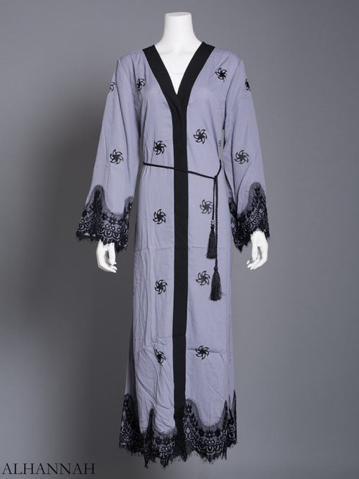 Floral Lace-Lined Button-up Abaya ab729 (5)