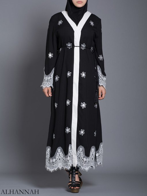 Floral Lace-Lined Button-up Abaya ab729 (8)