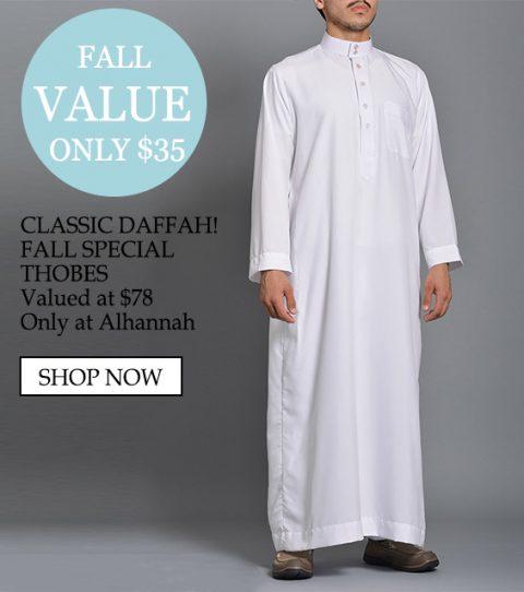 Sólo $ 35 Estilo de rayas Especial Daffah Thobes Valorado en $ 78 solo en alhannah
