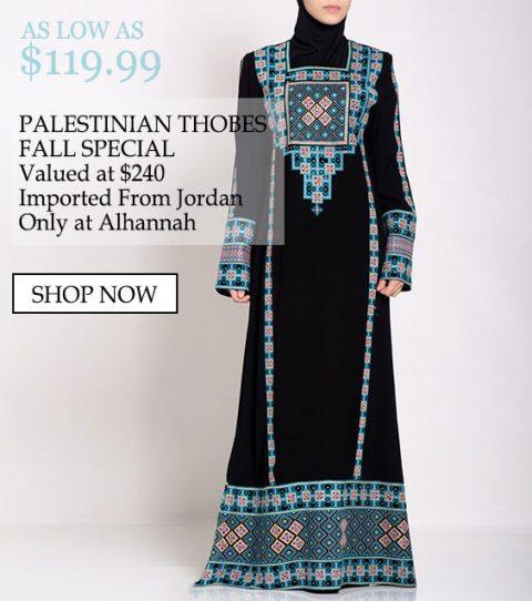 Tan bajo como $ 119.99, los Thobes palestinos son especiales, por un valor de $ 240 importados de Jordania, solo en Alhannah